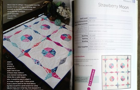 "My quilt ""Strawberry Moon"" in the Spring issue of Modern Quilts Unlimited"