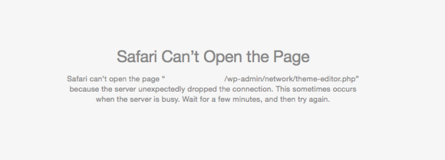 Safari can't open page - because the server unexpectedly dropped the connection. This sometimes occurs when the server is busy