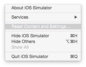 Reset Content and Settings of iOS Simulator for selcted device xcode macintosh