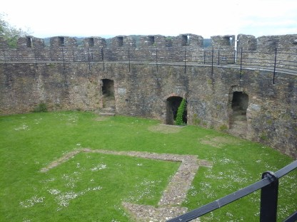 View from Keep into the keep, showing outline of the old tower