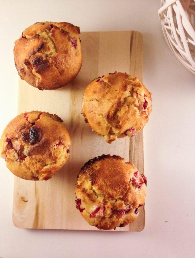 White chocolate coconut strawberry muffins