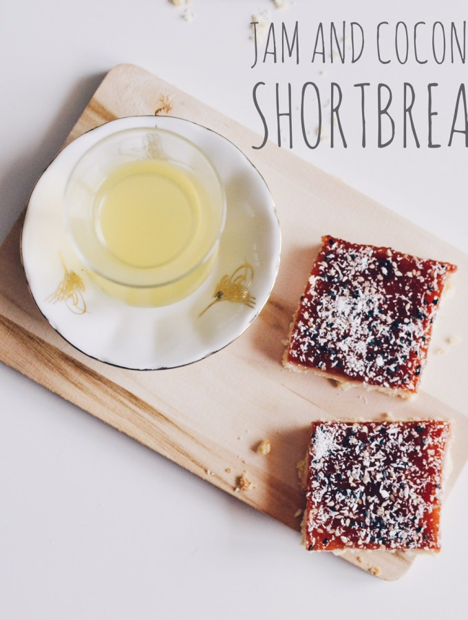 Jam and coconut shortbread