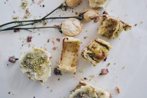 Pistachio and rose petal rolls