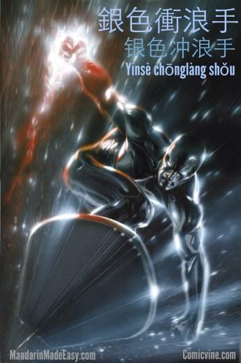 """銀色衝浪手 Yínsè chōnglàng shǒu """"silver surfer"""" 手shǒu in this instance doesn't mean hand but rather someone that is good or skilled at something."""