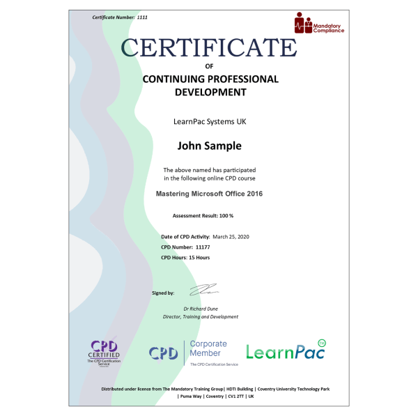 Mastering Microsoft Office 2016 – eLearning Course – CPD Certified – Mandatory Compliance UK –