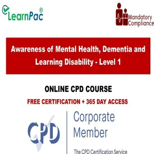 Awareness of Mental Health, Dementia and Learning Disability - Level 1 - Mandatory Training Group UK -