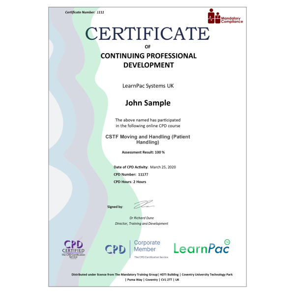 CSTF Moving and Handling (Patient Handling) – eLearning Course – CPD Certified – Mandatory Compliance UK –