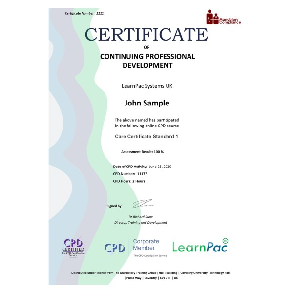 Care Certificate Standard 1 – eLearning Course – CPD Certified – Mandatory Compliance UK –
