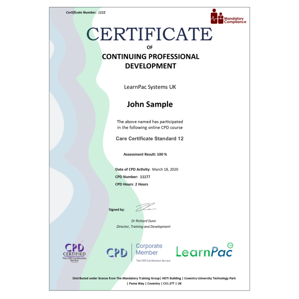 Care Certificate Standard 12 – eLearning Course – CPD Certified – Mandatory Compliance UK –