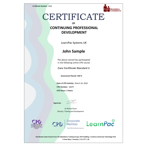 Care Certificate Standard 4 – eLearning Course – CPD Certified – Mandatory Compliance UK –