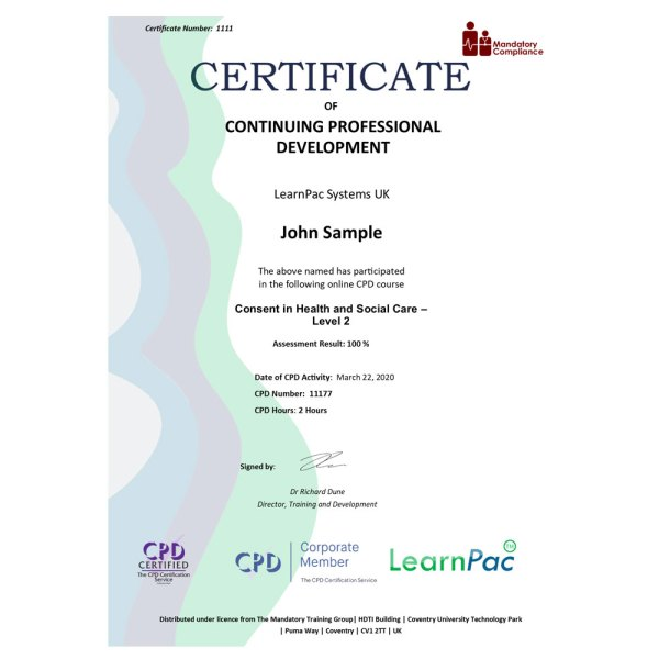 Consent in Health and Social Care – Level 2 – eLearning Course – CPD Certified – Mandatory Compliance UK –