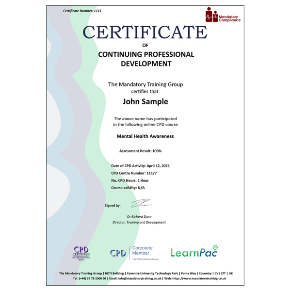 Mental Health Awareness – eLearning Course – CPD Certified – Mandatory Compliance UK –