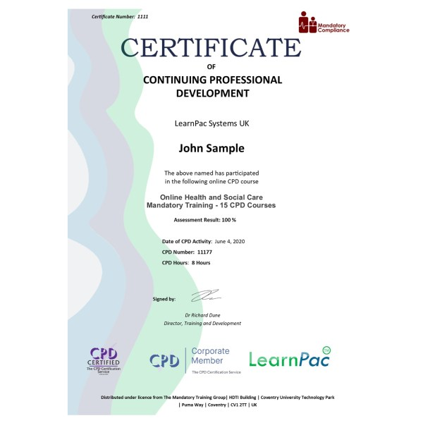 Online Health and Social Care Mandatory Training – eLearning Course – CPD Certified – Mandatory Compliance UK –