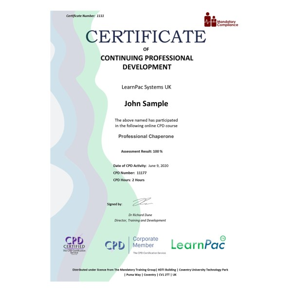 Professional Chaperone – eLearning Course – CPD Certified – Mandatory Compliance UK –