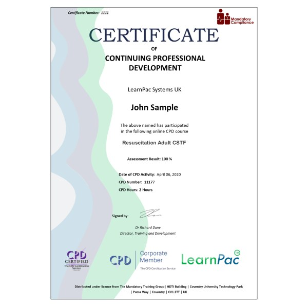 Resuscitation Adult CSTF – eLearning Course – CPD Certified – Mandatory Compliance UK –