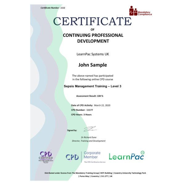 Sepsis Management Training – Level 3 – eLearning Course – CPD Certified – Mandatory Compliance UK –