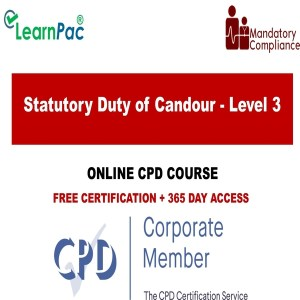 Statutory Duty of Candour - Level 3 - Online Training Course - The Mandatory Training Group UK -