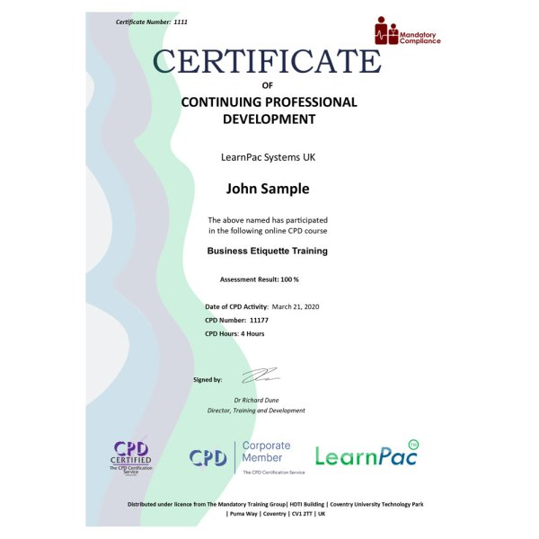 Business Etiquette Training – eLearning Course – CPD Certified – Mandatory Compliance UK –