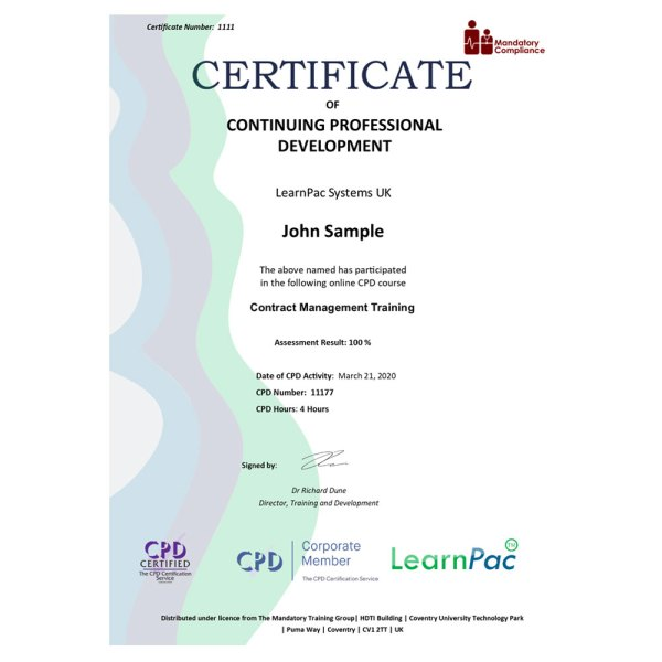 Contract Management Training – eLearning Course – CPD Certified – Mandatory Compliance UK –