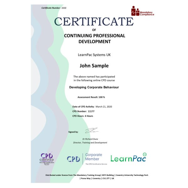 Developing Corporate Behaviour – eLearning Course – CPD Certified – Mandatory Compliance UK –