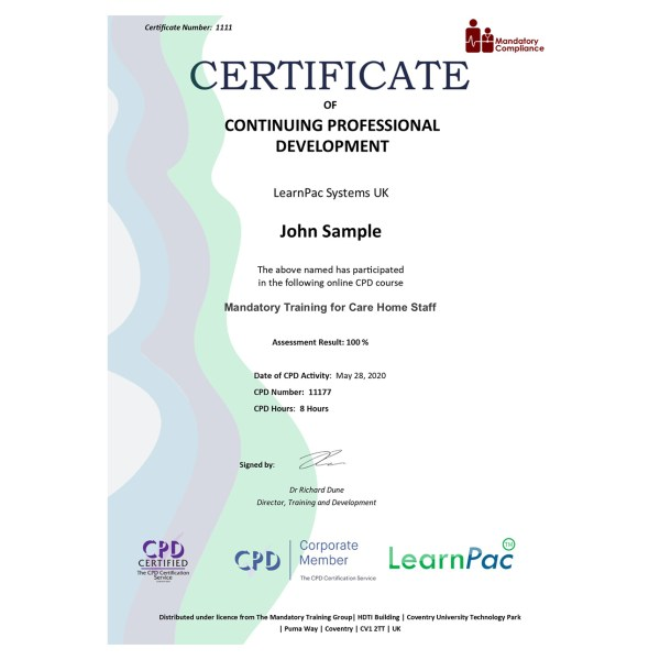Mandatory Training for Care Home Staff – eLearning Course – CPD Certified – Mandatory Compliance UK –