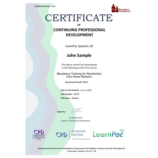 Mandatory Training for Residential Care Home Workers – eLearning Course – CPD Certified – Mandatory Compliance UK –