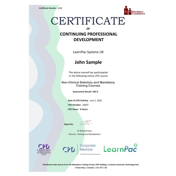 Non-Clinical Statutory and Mandatory Training Courses – eLearning Course – CPD Certified – Mandatory Compliance UK –