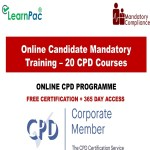 Online Candidate Mandatory Training – 20 CPD Accredited Courses – Mandatort Training Group –