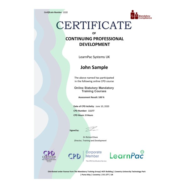 Online Statutory Mandatory Training Courses – eLearning Course – CPD Certified – Mandatory Compliance UK –