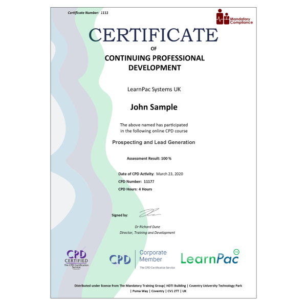 Prospecting and Lead Generation – eLearning Course – CPD Certified – Mandatory Compliance UK –