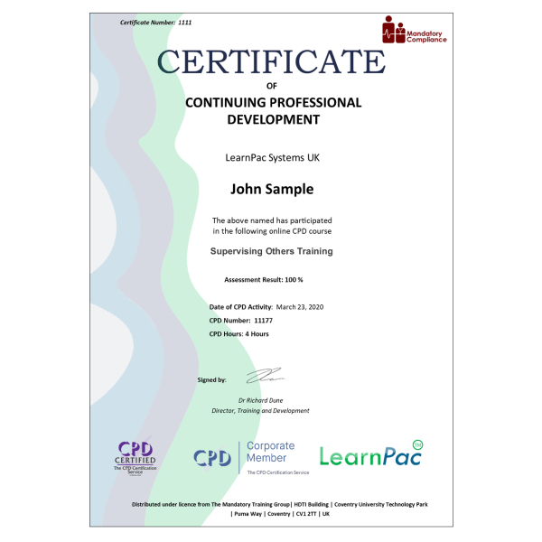 Supervising Others Training – eLearning Course – CPD Certified – Mandatory Compliance UK –