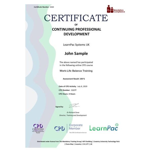 Work-Life Balance Training – eLearning Course – CPD Certified – Mandatory Compliance UK –