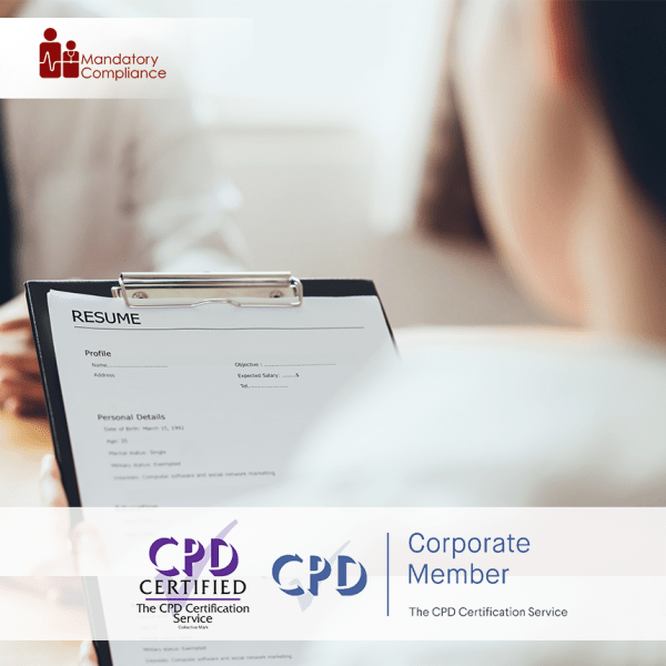 Employee Recruitment Training – Online Training Course – CPD Accredited – Mandatory Compliance UK –