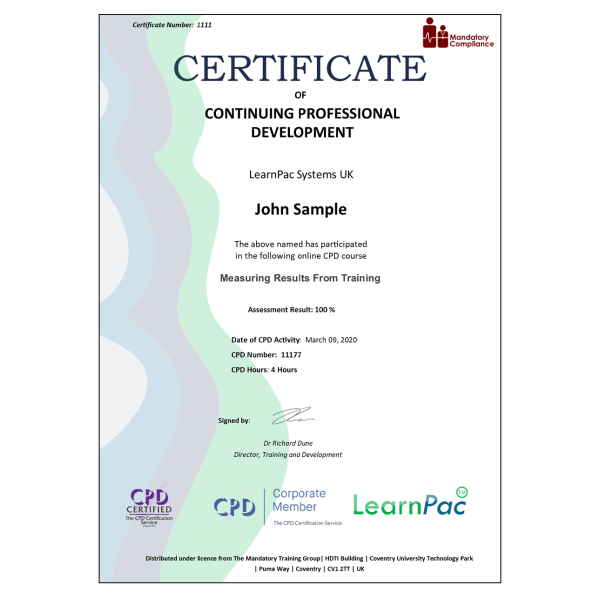 Measuring Results From Training – eLearning Course – CPD Certified – Mandatory Compliance UK –
