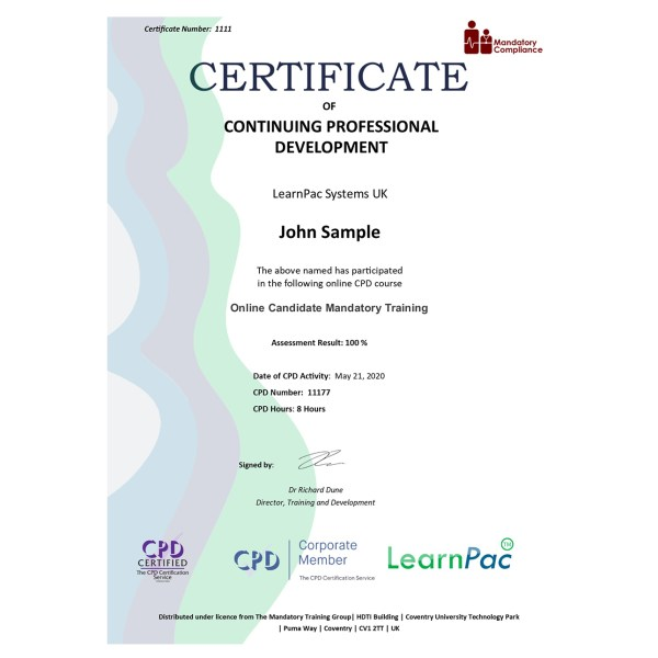 Online Candidate Mandatory Training – eLearning Course – CPD Certified – Mandatory Compliance UK –