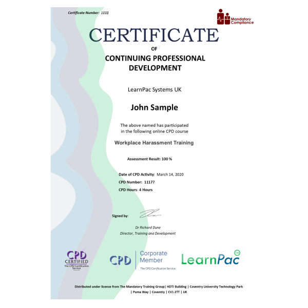 Workplace Harassment Training – eLearning Course – CPD Certified – Mandatory Compliance UK –