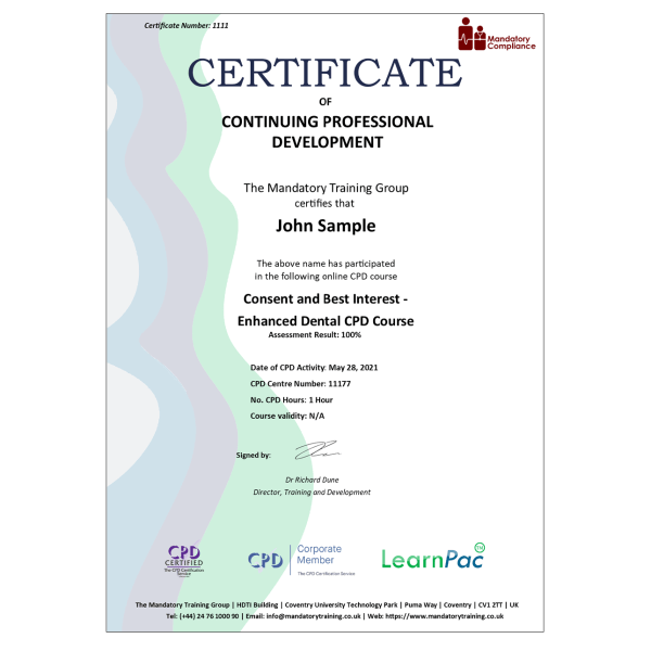 Consent and Best Interest – Enhanced Dental CPD Course – eLearning Course – CPD Certified – Mandatory Compliance UK –