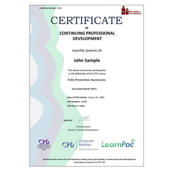Falls Prevention Awareness – eLearning Course – CPD Certified – Mandatory Compliance UK –