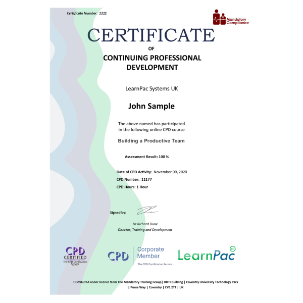 Building a Productive Team – eLearning Course – CPD Certified – Mandatory-Compliance UK –