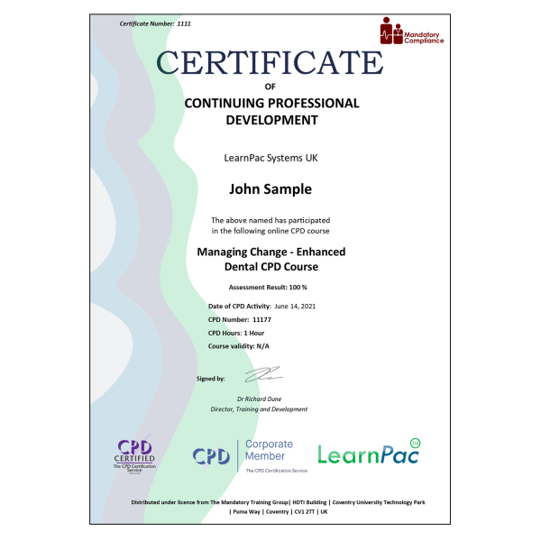 Managing Change – Enhanced Dental CPD Course – eLearning Course – CPD Certified – Mandatory Compliance UK –