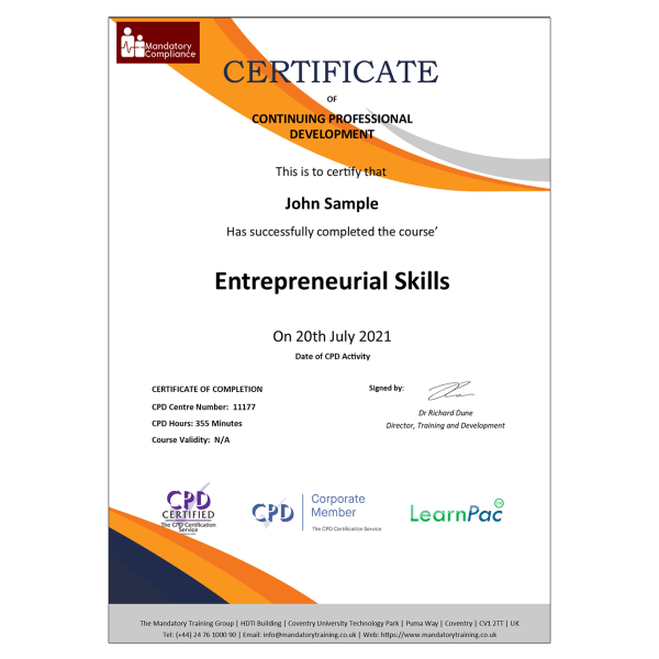 Entrepreneurial Skills – eLearning Course – CPD Certified – Mandatory-Compliance UK –