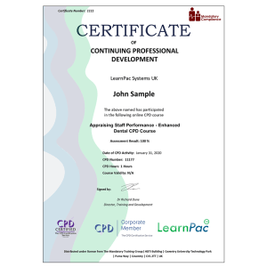 Appraising Staff Performance – Enhanced Dental CPD Course - Mandatory Compliance UK -