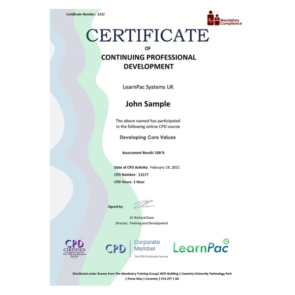 Developing Core Values – eLearning Course – CPD Certified – Mandatory Compliance UK –