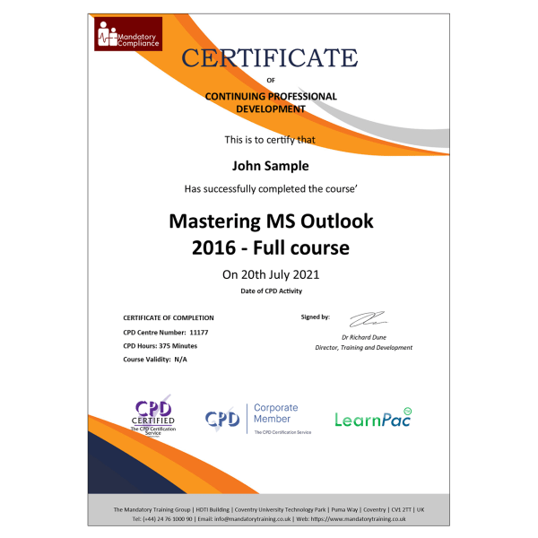 Mastering MS Outlook 2016 – Full course – eLearning Course – CPD Certified – Mandatory-Compliance UK –