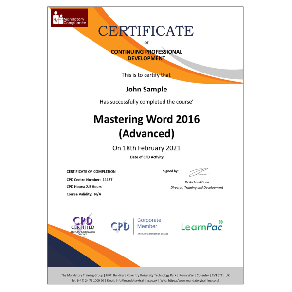Mastering Word 2016 (Advanced) – Online Training Course – CPD Accredited – Mandatory Compliance UK —