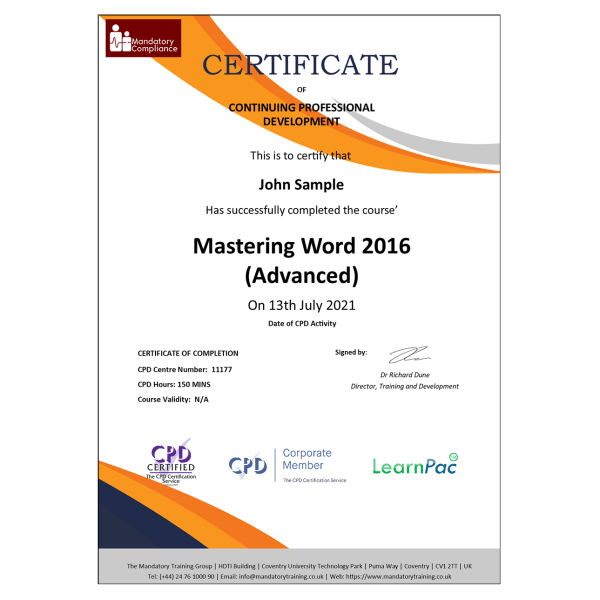 Mastering Word 2016 (Advanced) – eLearning Course – CPD Certified – Mandatory-Compliance UK –