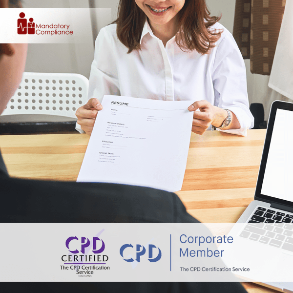Recruitment – Online Training Course – CPD Accredited – Mandatory Compliance UK –