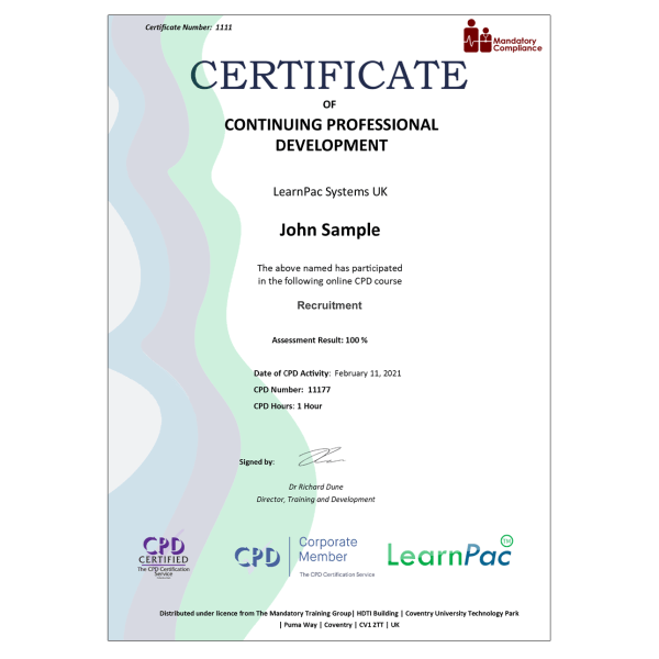 Recruitment – eLearning Course – CPD Certified – Mandatory Compliance UK –