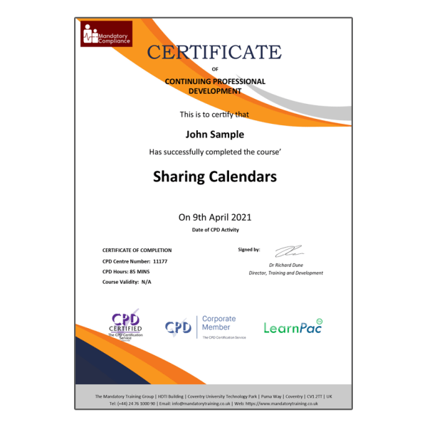 Sharing Calendars – eLearning Course – CPD Certified – Mandatory Compliance UK –