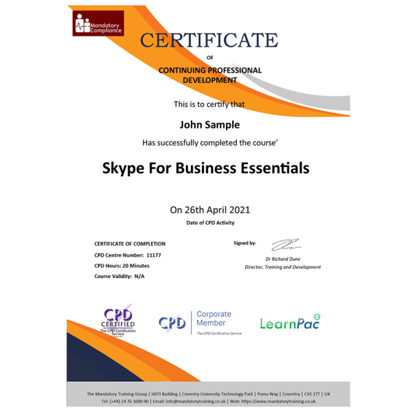 Skype For Business Essentials – E-Learning Course – CPDUK Certified – Mandatory Compliance UK –